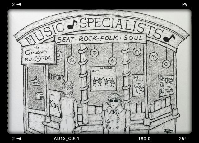 Tienda de discos en los swinging sixties